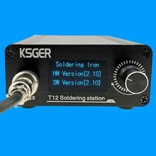 KSGER Estación de soldadura OLED T12, puntas de hierro, controlador STM32 V2.1S, Kits de bricolaje, mango 907, herramientas eléctricas, Auto sueño, 8s latas, enchufe de la UE
