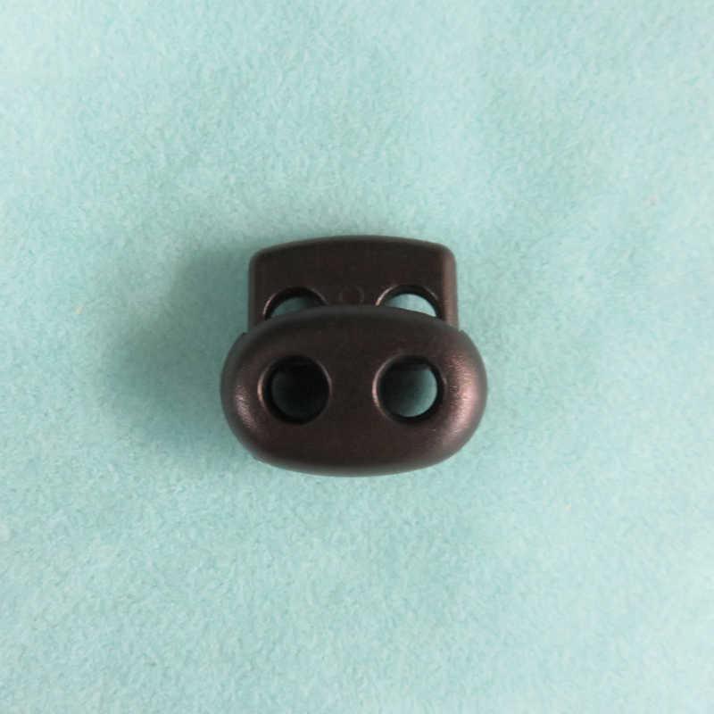 100 pçs preto 4mm 5mm duplo buraco plástico rolha cordão fechaduras feijão cordão toggle clip vestuário cadarço primavera botão acessórios