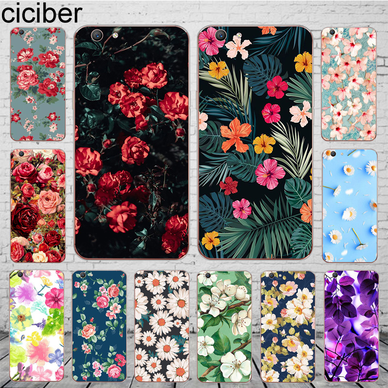ciciber Cover For OPPO A37 A39 A57 A59 A83 A5 A7 AX7 A3S F1S F11 F5 Youth Phone Case Soft Silicone Shell Leaves Sunflower Flower image