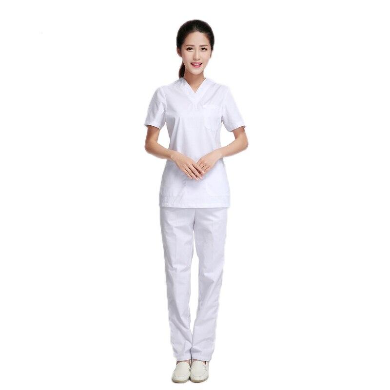 Branco Conjunto Dentista Salão de Beleza Uniforme Da Enfermeira do Hospital Uniforme Médico Esfrega conjuntos Macacão Mulher Médica