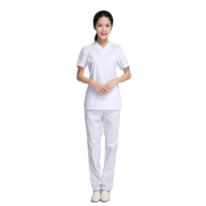 White Medical Uniform Scrub Set Dentist Beauty Salon Nurse Uniform Hospital Woman Medical Overalls Sets