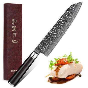 HEZHEN 8.5'' Slicing Knife Damascus Steel Chef Knife Sharp Slicing Cleaver Santoku Knife For Meat Fish Vegetable Cutting Tools