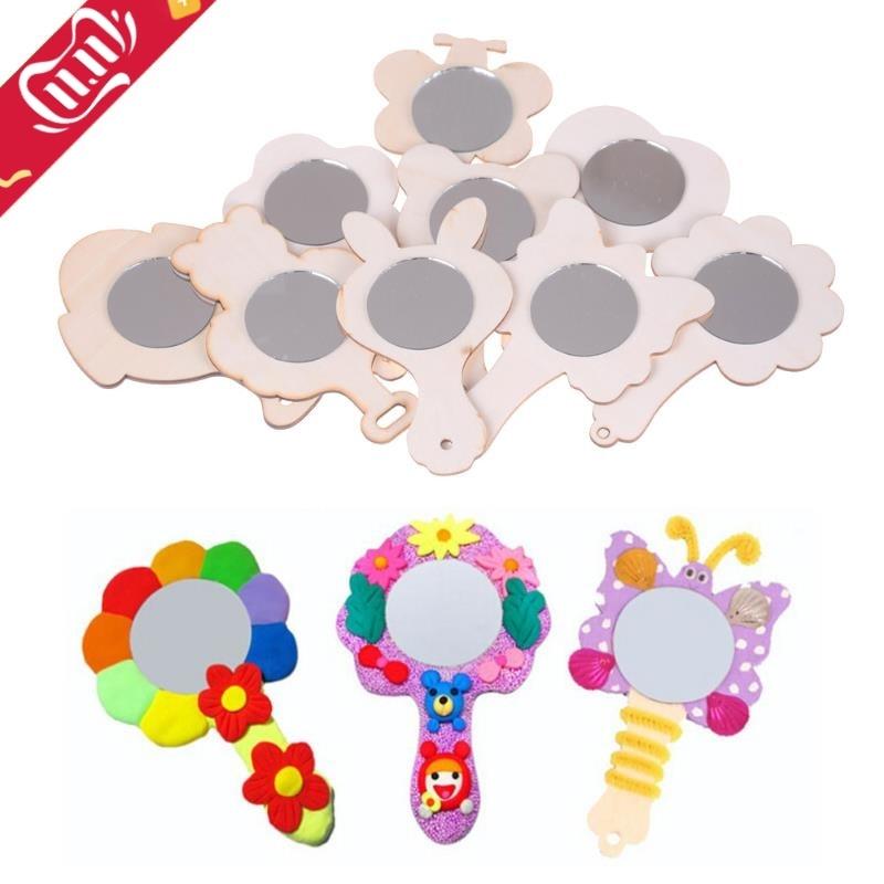 1 pièces à la main créatif bricolage blanc bois moule miroir peinture à la main artisanat enfants jouets bibelot matériel drôle artisanat jouets