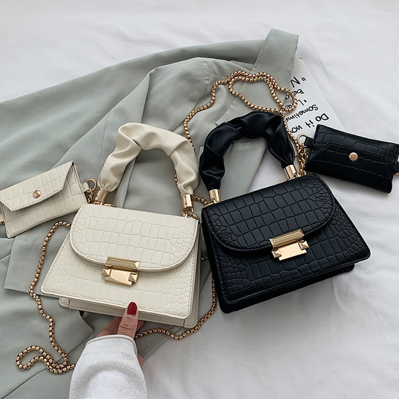Модная женская сумка с узором «крокодиловая кожа», модная простая сумка через плечо с цепочкой «Аллигатор» Для женщин 2020 INS| |   | АлиЭкспресс