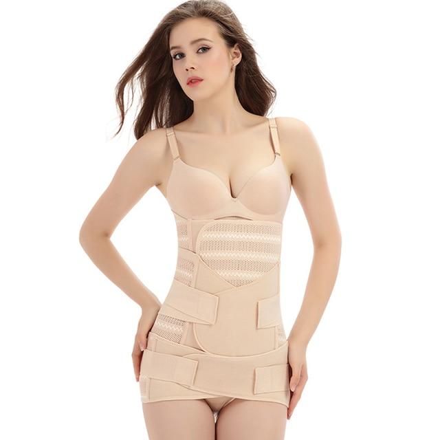 3pcs Slimming Bandage Wrap Sweat Wicking Pregnancy Girdle Postpartum Belt Set Breathable Pelvis Abdomen Elastic Strap Shapewear