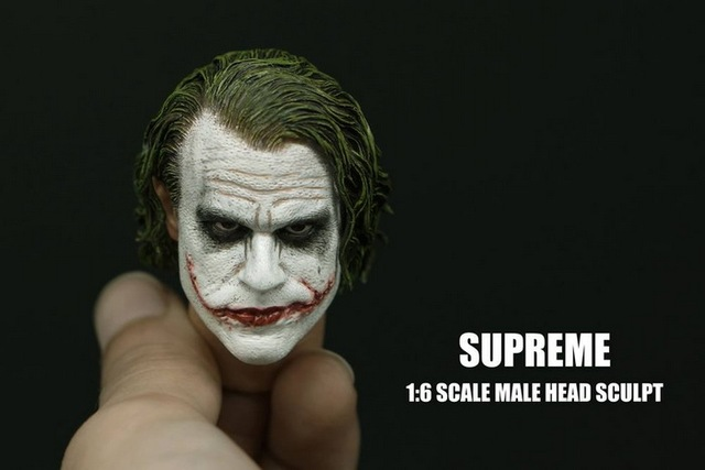 1/6 Scale Batman Joker Headplay Heath Ledger Head Sculpt with Heavy Makeup Male Headplay for 12 Inches DIY Action Figures