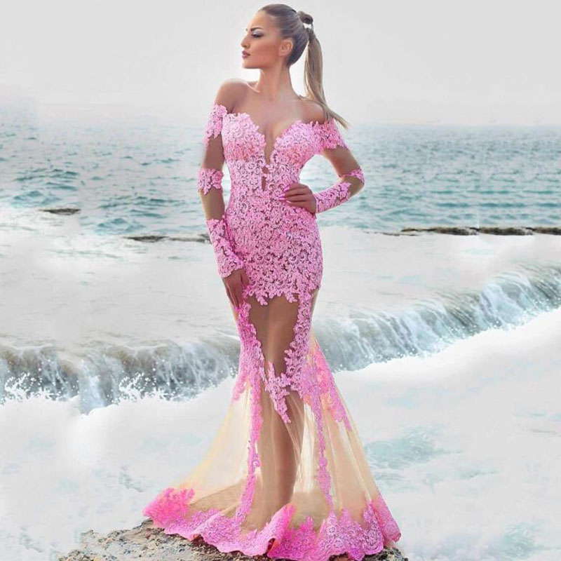 Elegant Pink Off the shoulder Long Mermaid Prom Dresses 2020 Custom Made With Lace Appliques Formal Evening Gowns vestidos