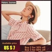 Metersbonwe 2019 New Hot Short Sleeved Shirt Women's Blouse Retro Stripe Joker Line Led Hong Kong Style Summer Blouse