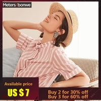 Metersbonwe 2019 New Hot Short Sleeved Shirt Women's Blouse Retro Stripe Joker Line Led Hong Kong Style Summer Blouse