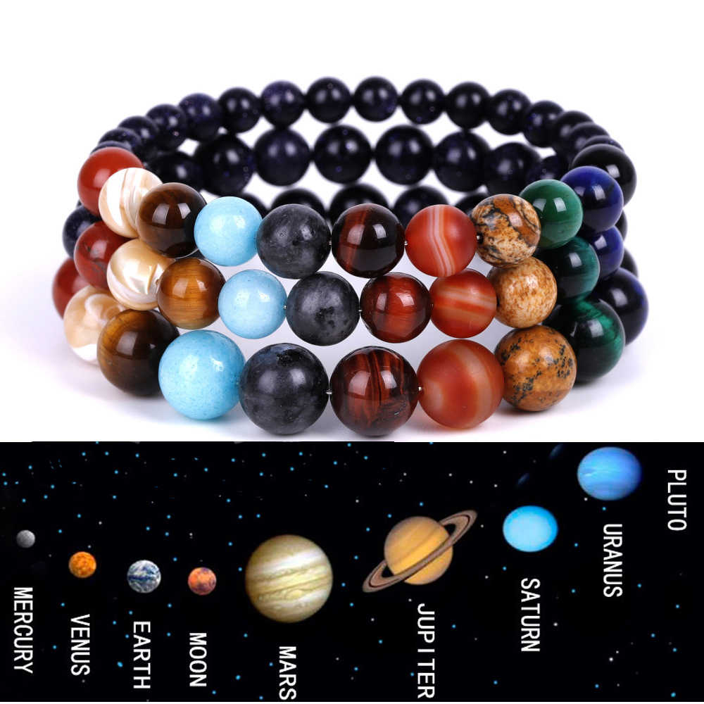 2019 Eight Planets Bead Bracelet Men Natural Stone Universe Yoga Chakra Solar Bracelet for Men  Women Jewelry Drop Shipping