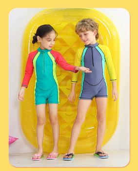 Wyoturn chłopcy i dziewczęta jednoczęściowy strój kąpielowy modna patchworka oddychający strój kąpielowy dziecięcy odporność na promieniowanie UV odzież chroniąca przed słońcem tanie i dobre opinie Dobrze pasuje do rozmiaru wybierz swój normalny rozmiar Stretch Spandex oddychająca Z okrągłym kołnierzykiem wyfs37