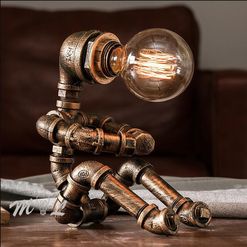 Vintage Table Lamps Retro Water Pipe Robot Desk Lamp Home Deco Industrial Lamp Beside Bedroom Lamp Study Decoration Led Beds