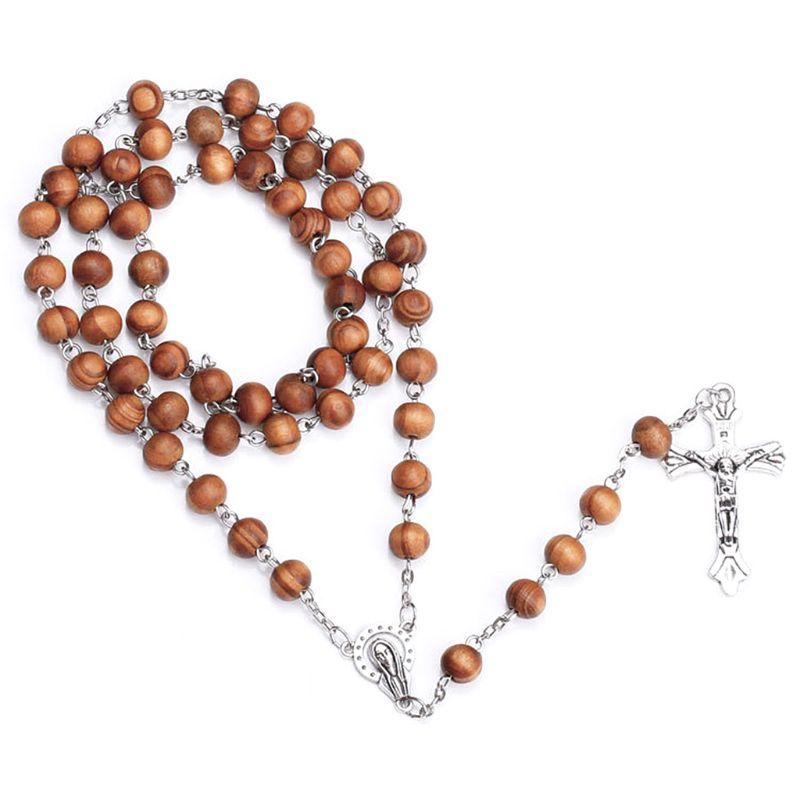 Ручной работы круглый шарик католические четки крест религиозное ожерелье из деревянных бусин подарок E65B