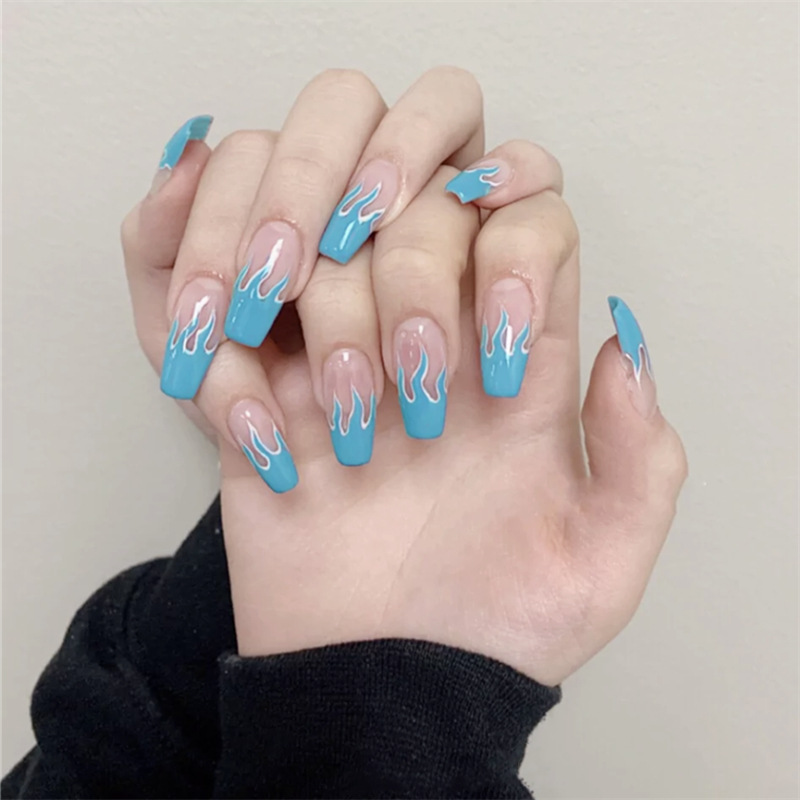 2020 New European Square Flame Fake Nails Design Blue Purple Fire Pattern Full Cover False Nails Artificial Nail Decal Art Tips(China)