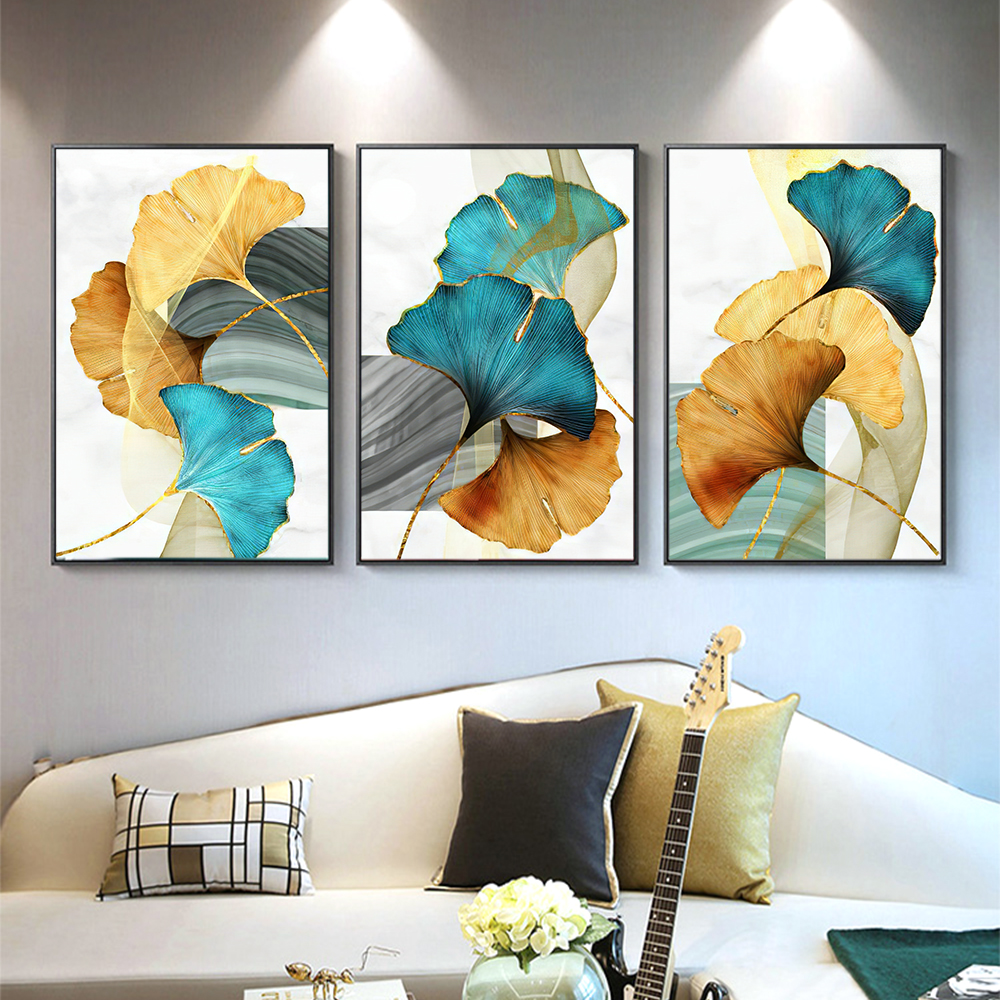 DDHH Blue Green Yellow Gold Plant Leaf Abstract Poster Nordic Canvas Print  Wall Art Painting Modern Picture Living Room Decor|Painting & Calligraphy|  - AliExpress
