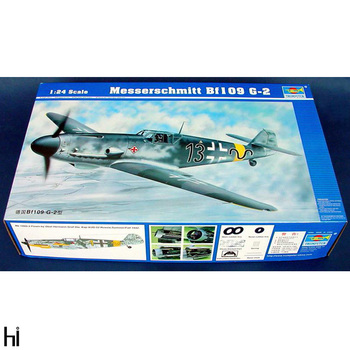 Trumpeter 1/24 02406 German Messerschmitt Bf109 G-2 Fighter Plane Aircraft Military Assembly Plastic Model Building Kit image