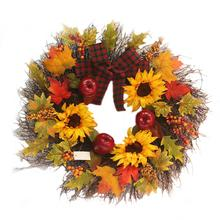 Sunflower Maple Leaf Bowknot Christmas Wreath Home Window Mall Hotel Decoration Pendant