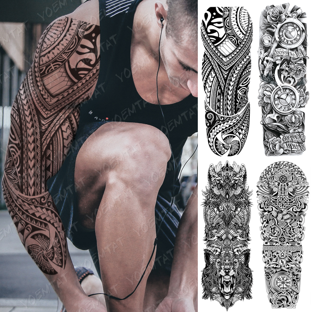 Large Arm Sleeve Tattoo Lucifer Angel Eagle Waterproof Temporary Tatto Sticker Hell Satan Body Art Full Fake Tatoo Women Men
