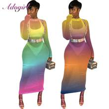 Sexy Rainbow Print Sheer Mesh Hollow Out Avond Party Club Bodycon Lange Dreess Vrouwen Elegante Lange Mouw O Hals Strand jurken(China)
