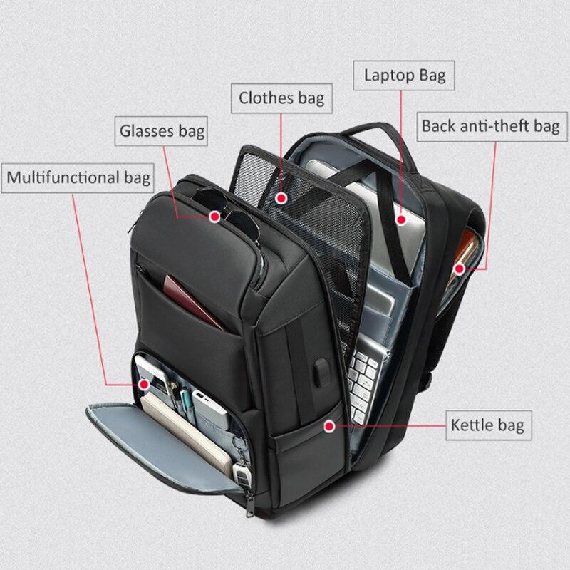 EURCOOL voyage sac à dos hommes multifonction grande capacité mâle Mochila avec Port de charge USB 17.3 pouces ordinateur portable école sacs à dos - 4