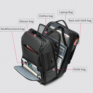 Image 4 - EURCOOL حقيبة السفر الرجال متعددة الوظائف سعة كبيرة الذكور موتشيلا حقائب USB شحن ميناء 17.3 بوصة محمول حقائب الظهر المدرسية