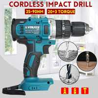 3-In-1 Electric Impact Drill Hammer Drill Electric Screwdriver Rechargable 13mm 2-Speed 25-90Nm For Makita Battery 18V