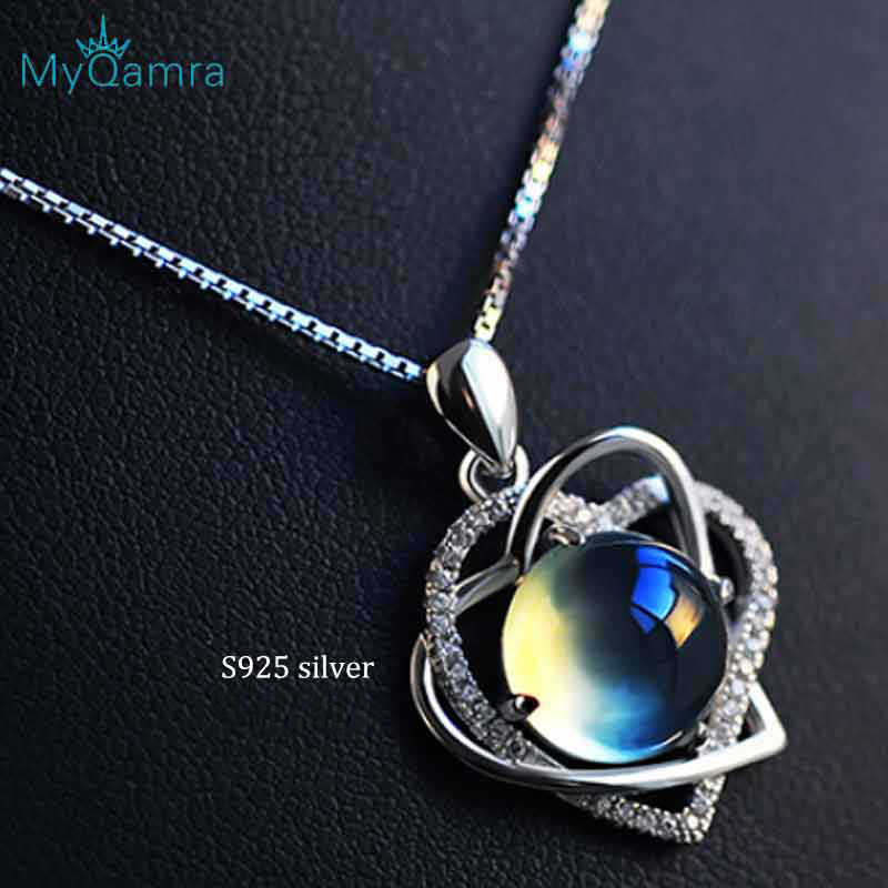 Genuine 925 Sterling Silver Necklace Pendant For Women  Crystal Fine jewelry Adjustable Chain Jewellery Valentines Gift
