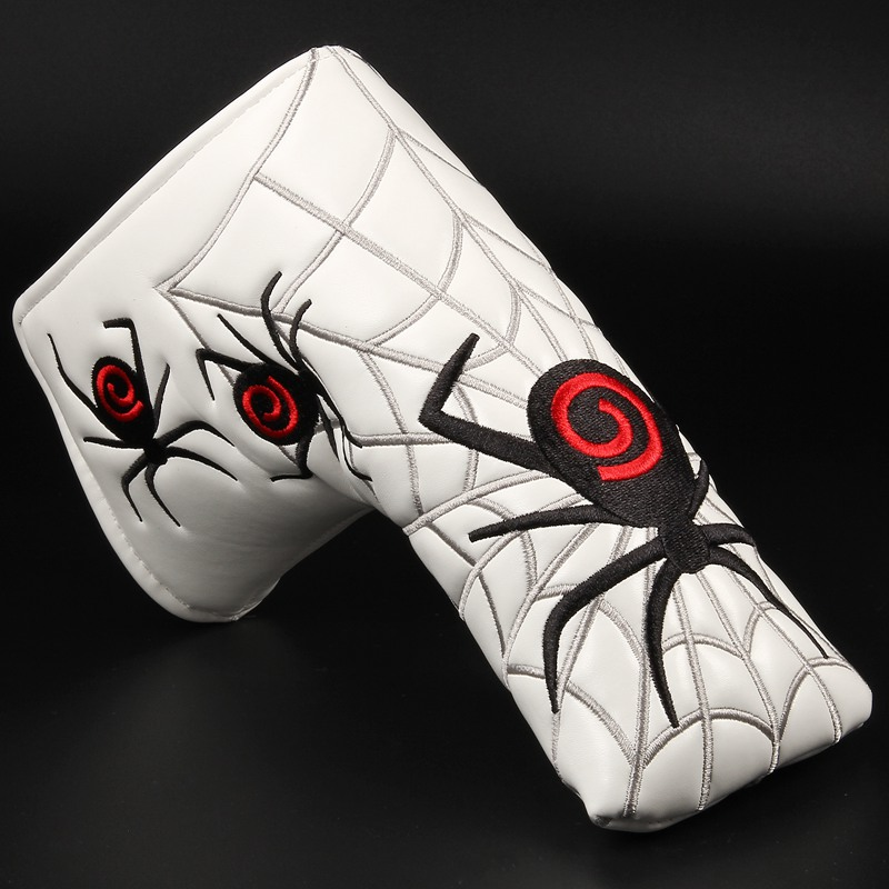 1pc New Spider With Silver Web Golf Putter Cover Headcover For Blade Golf Putter White Black Head Cover Free Shipping