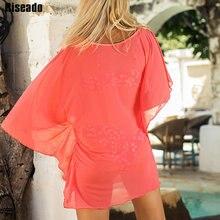 Riseado 2020 sexy vestido de praia ver através de coberturas túnica mulher roupa de banho praia laranja maiôs verão cobrir