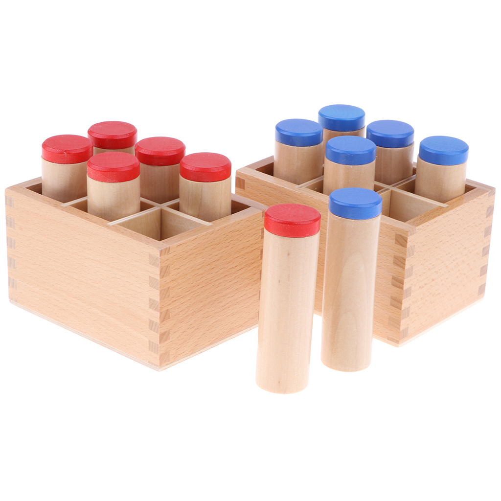 Montessori Sensorial Teaching Toy - Wooden Sound Cylinder Set, Trains Kids Hands Grasping Ability, Concentration And Hearing
