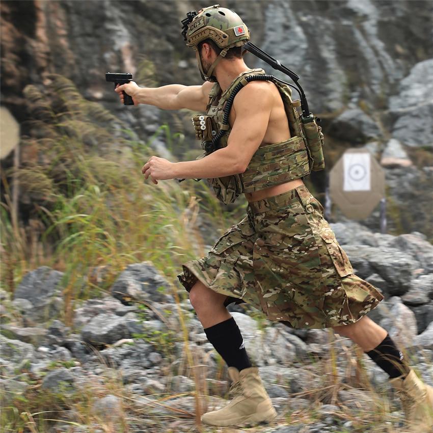 Nueva falda escocesa para hombres, uniforme militar del ejército, fuerzas especiales, pantalones de combate, disfraces de camuflaje, ropa de trabajo para adultos de soldado
