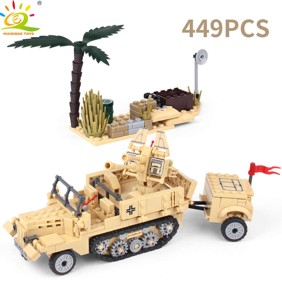 HUIQIBAO צעצועי צבא אבני בניין לילדים תואם legoingly צבאי משאית רכב אופנוע חייל נשק לבנים סט