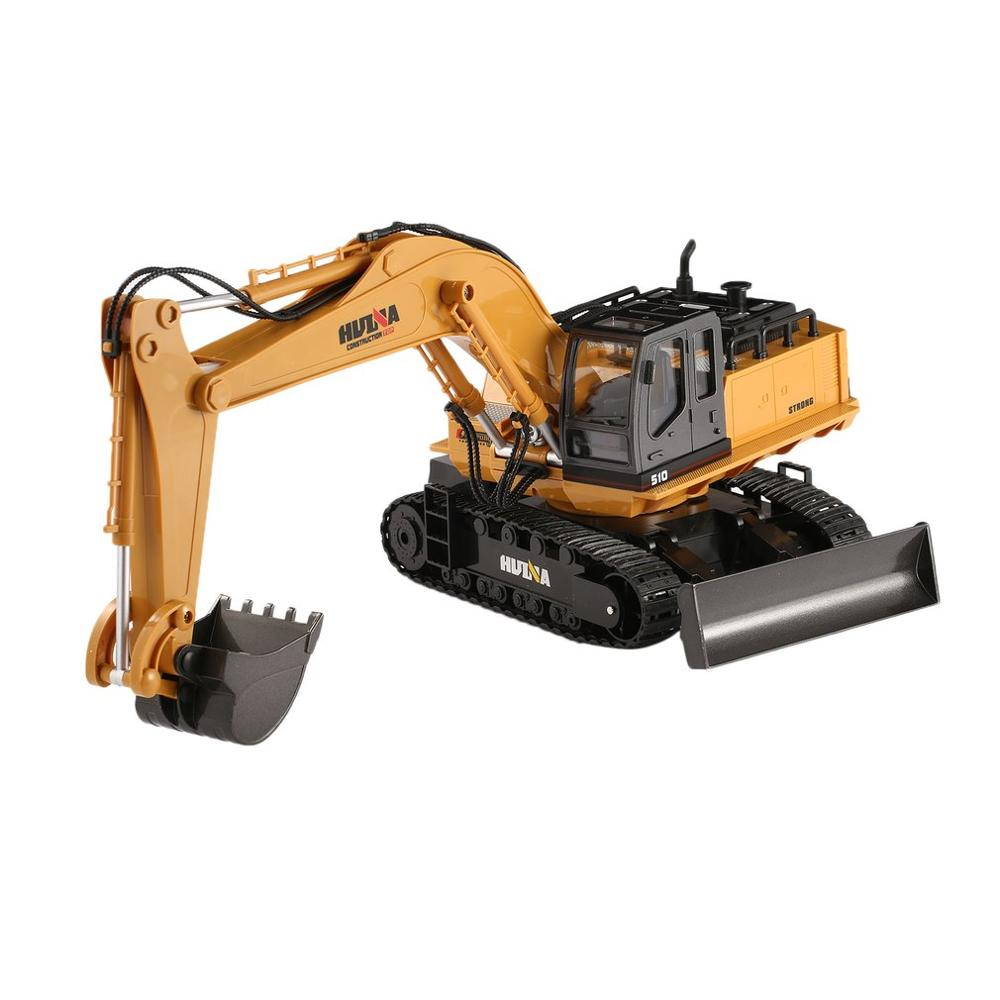 2019 NEW HUINA TOYS 1510 2.4G 1/16 11CH Alloy RC Excavator Truck Engineering Construction Vehicle with 680' Rotation Sound Light
