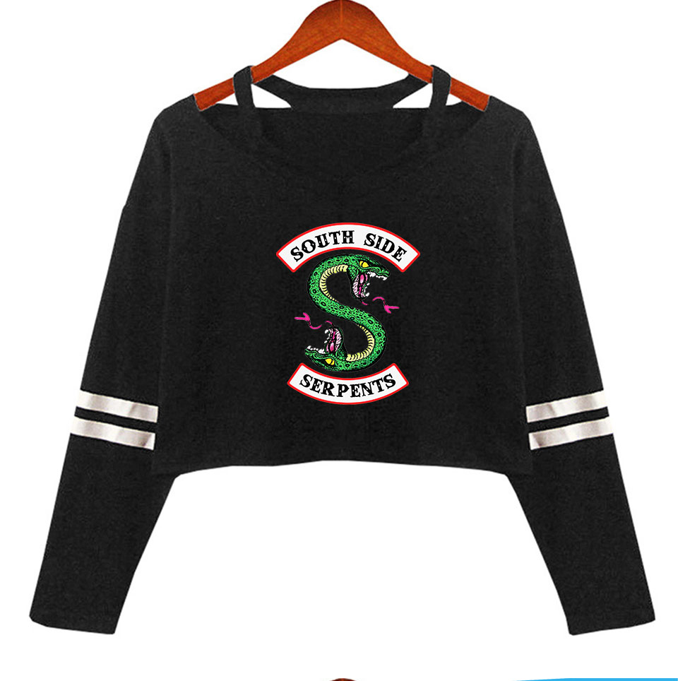 South Side Serpents Riverdale Women's Off-shoulder Shirt Sexy Long Sleeve Riverdale Southside Tops Shirt Girl Streetwear Clothes