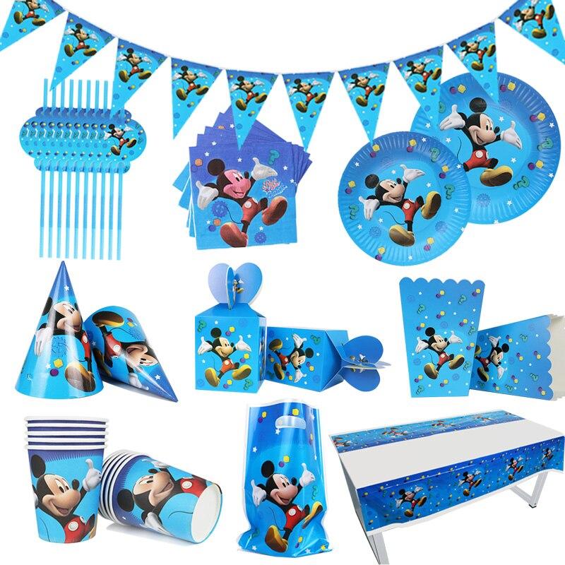 Набор для детского дня рождения с мультяшными героями Диснея, Микки Мауса, тарелки для вечевечерние НКИ, одноразовая посуда для будущей мам...