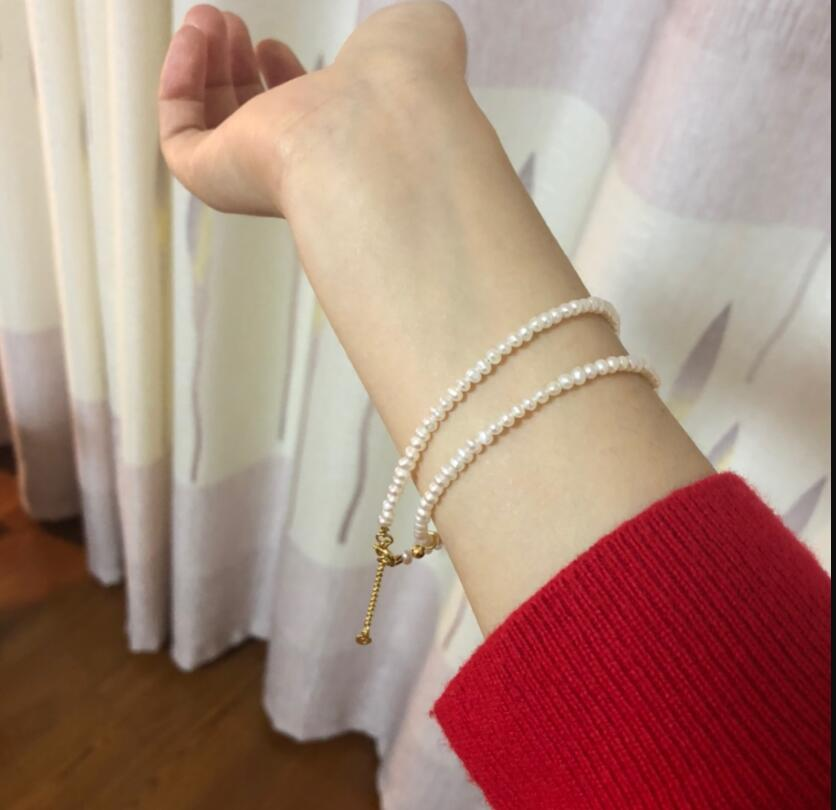 """Real pearl 2mm white pearl necklace gold clasp extend chain natural Freshwater PEARL Women Jewelry 14"""" 17"""" 35cm 43cm"""