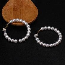 Pearl Hoop Clip On Earrings For Women Large Non Pierced