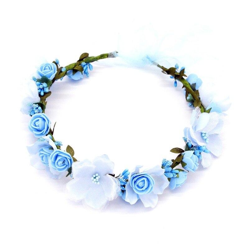 Handmade Festival Hair Ribbon Flower Hair Accessories Artificial Floral Women Girl Wedding Headband Crown Garland Handwrist Sets