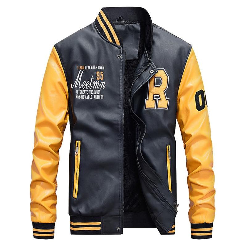 Korean-Style Japanese-Style    Men's Leather Coat Baseball Uniform Pu Casual Jacket 7701-