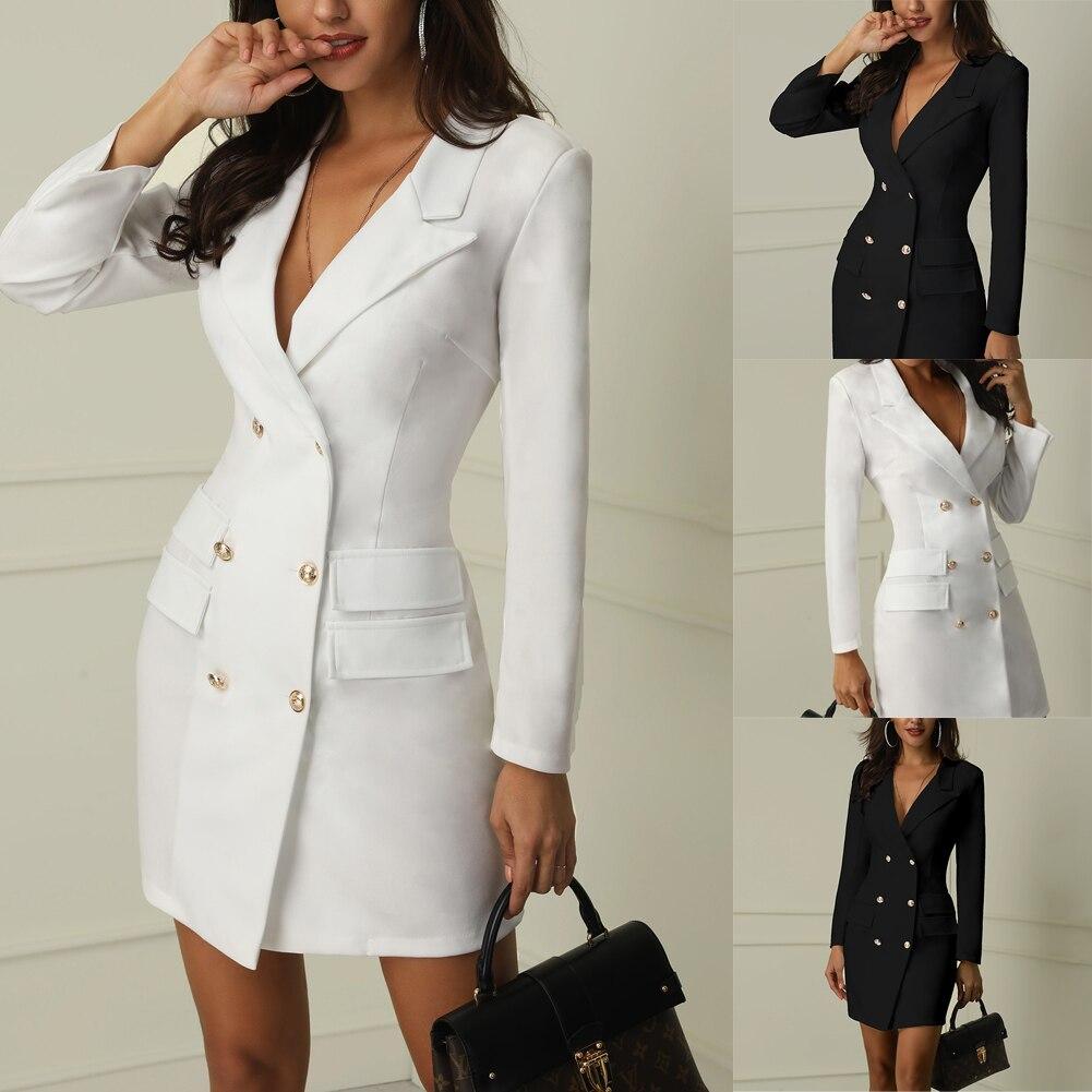 Autumn Winter Suit Blazer Women 19 New Casual Double Breasted Pocket Women Long Jackets Elegant Long Sleeve Blazer Outerwear 2