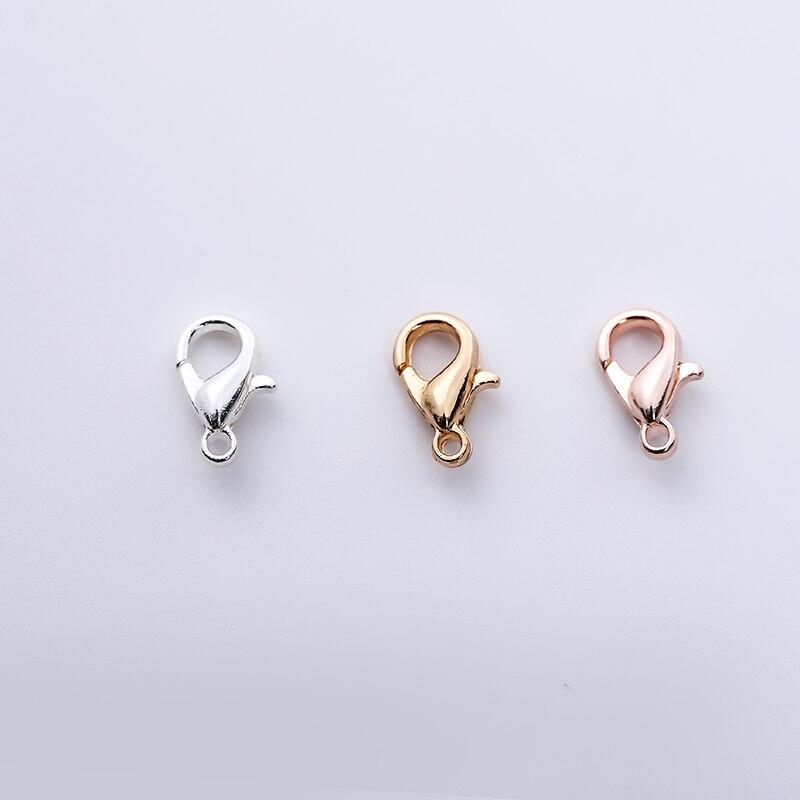 100 шт./партия, позолоченная застежка-карабин 10 мм, застежка-карабин из розового золота, подходит для ювелирных украшений, ожерелий, браслетов...