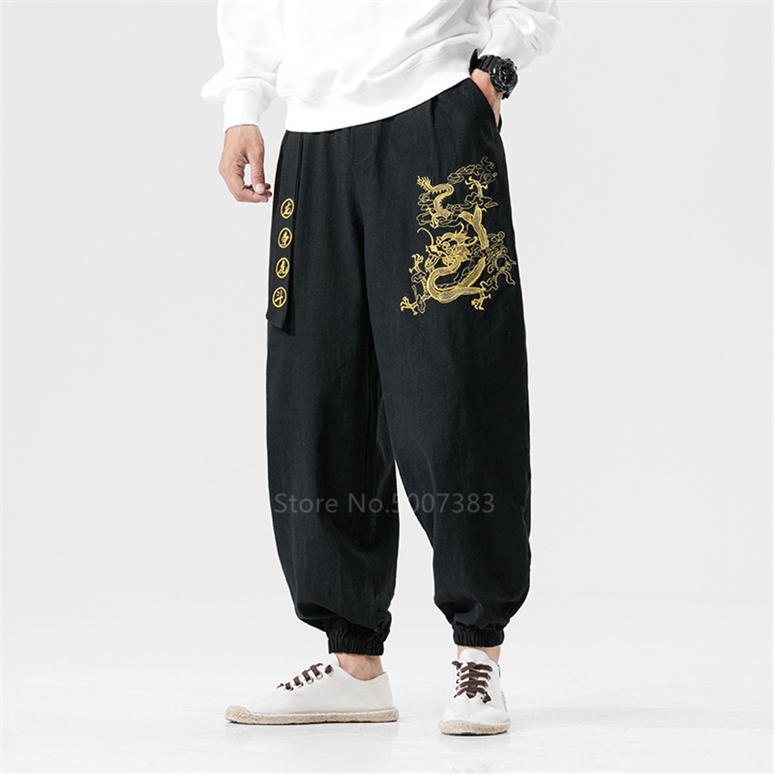 Chinese Style Traditional Clothing Pants For Men Fashion Oriental Japanese Kimono Casual Vintage Crane Embroidery Pants Trousers