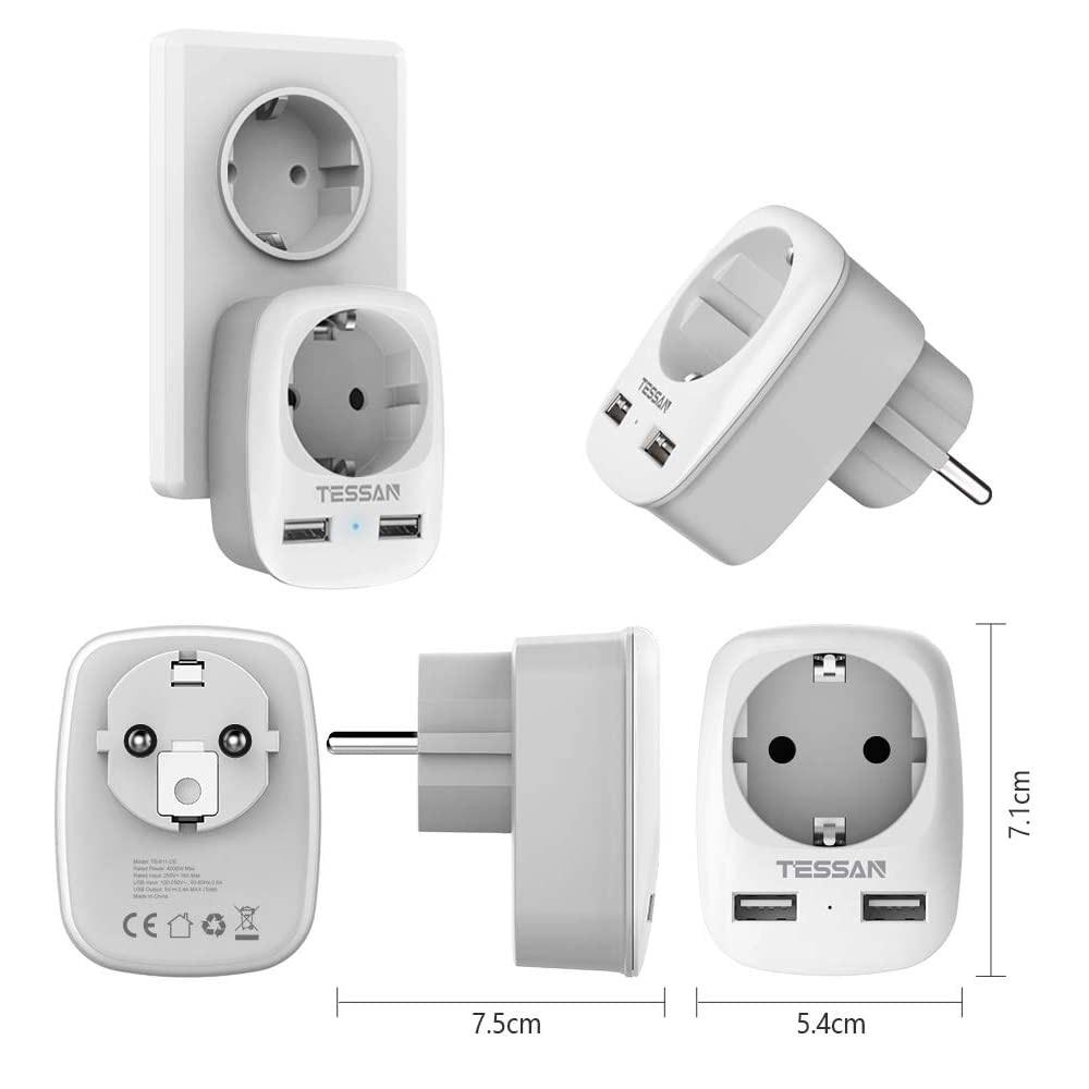 Extension de prises murales avec 3 prises normales et 3 ports USB