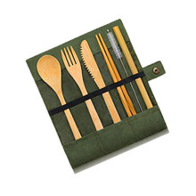 Tableware Bamboo-Knife Travel Thick Cutlery-Set Cloth-Bag Fork-Spoon 1set Creative