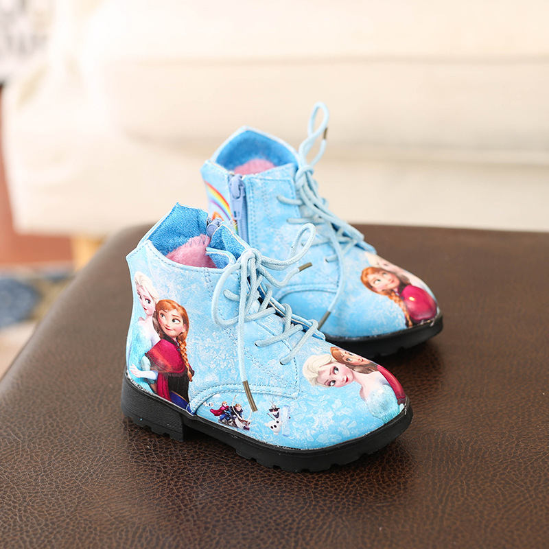 Image 3 - Winter Girl Shoes Ice And Snow Princess Shoes Short Boots Baby Shoe Cartoon Children Snowfield Leather Martin Boots Child Shoes-in Boots from Mother & Kids