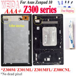 WEIDA For Asus Zenpad 10 Z300M Z301ML Z301MFL Z300CNL Yellow cable 1280*800 LCD Display Touch Screen Assembly Frame for Z300 LCD