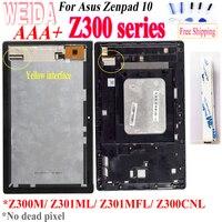Weida para asus zenpad 10 z300m z301ml z301mfl z300cnl amarelo cabo 1280*800 display lcd tela de toque quadro montagem para z300 lcd|Painéis e LCDs p/ tablet| |  -