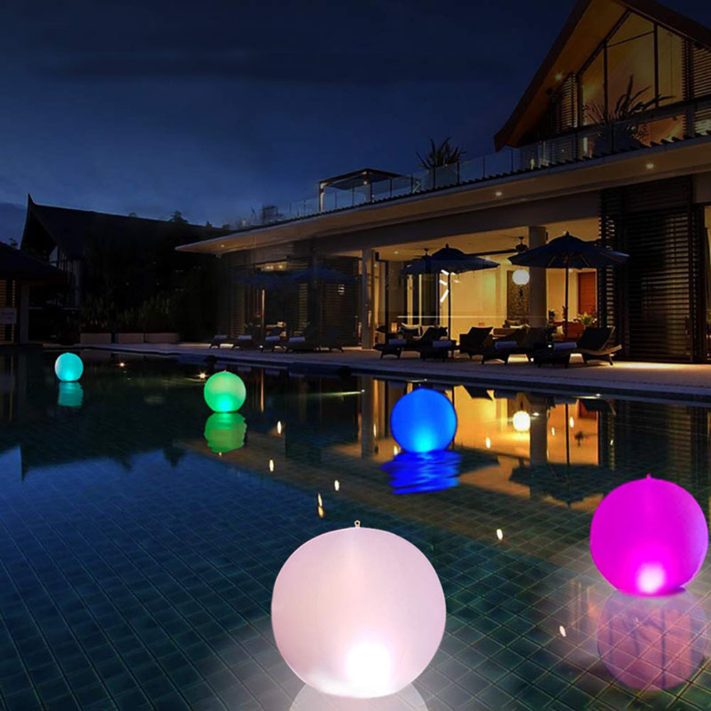 Pelota de playa brillante para luz Led con Control remoto, juguete de piscina en 13 colores, inflable, Led, accesorios de fiesta
