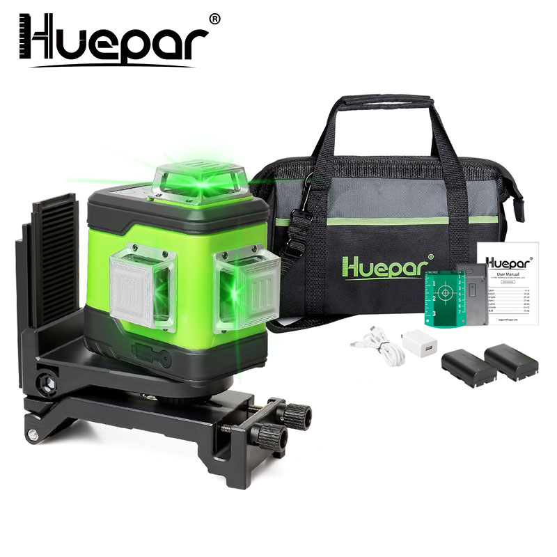 Huepar 3D Cross Line Self-Leveling Laser Level 3x360 Green Beam Three-Plane Leveling & Alignment Laser Tool With Li-ion Battery