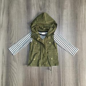 Image 3 - fall/winter baby girls cotton long sleeve top t shirt mustard olive vests and stripe tops hoodie raglans children clothes coat